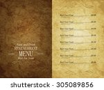 menu restaurant | Shutterstock .eps vector #305089856