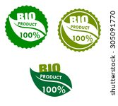 bio product labels with green... | Shutterstock .eps vector #305091770