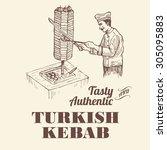 illustration of chef slicing... | Shutterstock .eps vector #305095883