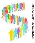 many people isolated    Shutterstock .eps vector #305099480