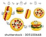fast food cartoon characters... | Shutterstock .eps vector #305100668