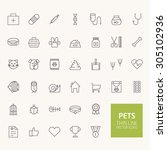 pets outline icons for web and... | Shutterstock .eps vector #305102936