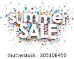 white summer sale sign over... | Shutterstock .eps vector #305108450