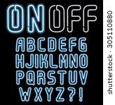 neon font  part 3 4  complete... | Shutterstock .eps vector #305110880