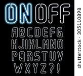 neon font  part 1 4  complete... | Shutterstock .eps vector #305110898