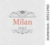 milan italy.vintage frame. | Shutterstock .eps vector #305111960