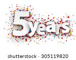five years paper sign over... | Shutterstock .eps vector #305119820