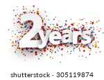 two years paper sign over... | Shutterstock .eps vector #305119874