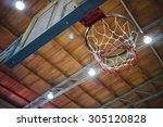 Basketball Hoop In Sport Hall