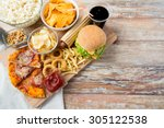 fast food and unhealthy eating... | Shutterstock . vector #305122538