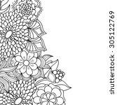 zentangle doodle floral... | Shutterstock .eps vector #305122769