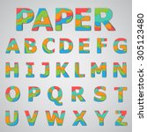 colorful papercut layered font  ... | Shutterstock .eps vector #305123480