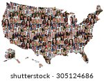 Usa map multicultural group of...