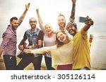 friends friendship leisure... | Shutterstock . vector #305126114