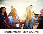 friends drinking talking beach... | Shutterstock . vector #305127098
