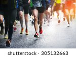 marathon runners  | Shutterstock . vector #305132663