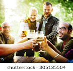 friends party outdoors... | Shutterstock . vector #305135504
