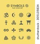 vector flat icon set   symbols  | Shutterstock .eps vector #305135834