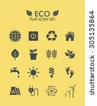 vector flat icon set   eco | Shutterstock .eps vector #305135864