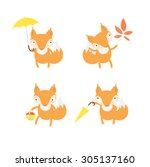 vector set with cute cartoon... | Shutterstock .eps vector #305137160