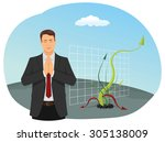 businessman is praying for the... | Shutterstock .eps vector #305138009