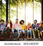 diversity teenagers friends... | Shutterstock . vector #305140559