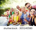 diverse people luncheon food... | Shutterstock . vector #305140580