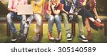 diversity teenagers friends... | Shutterstock . vector #305140589