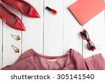 voyage concept   set of woman... | Shutterstock . vector #305141540
