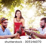 friends outdoors vacation... | Shutterstock . vector #305146070