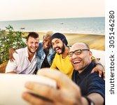 diversity friends selfie photo... | Shutterstock . vector #305146280