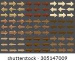 set of wooden arrows. vector.  | Shutterstock .eps vector #305147009