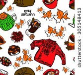 cozy autumn. vector seamless... | Shutterstock .eps vector #305148413