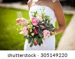 beautiful stylish bride holding ... | Shutterstock . vector #305149220