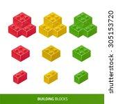 isometric plastic  building... | Shutterstock .eps vector #305153720