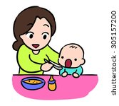 mother feeding her baby by... | Shutterstock .eps vector #305157200