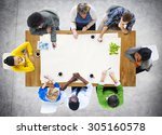 people meeting work place of... | Shutterstock . vector #305160578