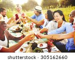 diverse people hanging out... | Shutterstock . vector #305162660