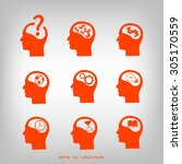 thinking heads icons | Shutterstock .eps vector #305170559