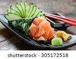 salmon temaki sushi | Shutterstock . vector #305172518