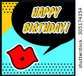 birthday message with lips  ... | Shutterstock .eps vector #305174354