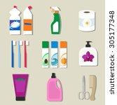 collection of flat icons... | Shutterstock .eps vector #305177348