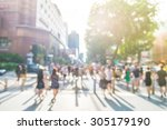blur people at orchard road in...   Shutterstock . vector #305179190