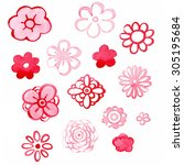 set of pink and red watercolor... | Shutterstock . vector #305195684