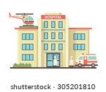 hospital building flat style.... | Shutterstock .eps vector #305201810
