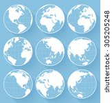 vector globe earth icons | Shutterstock .eps vector #305205248