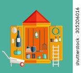 garden tool storage. storage... | Shutterstock .eps vector #305206016