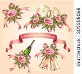 wedding decoration with flowers ... | Shutterstock .eps vector #305208068