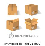 flat boxes icons set. eps10 | Shutterstock .eps vector #305214890