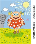little nice girl with skipping... | Shutterstock . vector #30521833